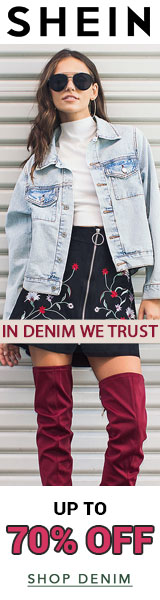 In Denim We Trust!  Shop now and save up to 70% off Denim at us.SheIn.com!  Ends 9/4