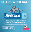 Get 20% off Personalized Name Stickers with shark and hammerhead icons