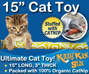 organic catnip, kitty kick stix, cat toys