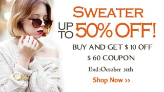 BUY AND GET $10 OFF $60 coupon. End: October 31th.