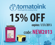15% Off Your Ink & Toner! (use code: NEW2013)