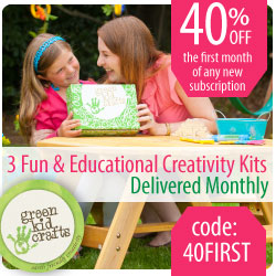 Save 40% on your first month of any new subscription to Green Kid Crafts' award winning creativity kits.
