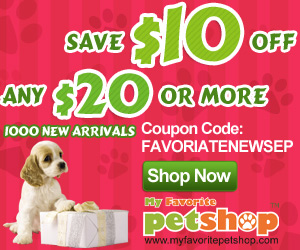 Save $10 for any $20 purchase or more. 1000 New Arrivals of Pet Products! Coupon code: FAVORIATENEWSEP. Ends Oct. 31. Buy now!