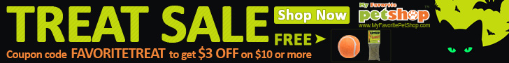 Trick or Treat! Buy $10 in treats-get $3off for Dog & Cat Treats. Coupon code FAVORITETREAT . PLUS :FREE tennis ball or catnip. Ends Oct.31. Buy now!