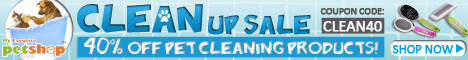 CLEAN UP SALE! 40% Off Pet Cleaning Products! Coupon Code: CLEAN40. Ends Jan. 28. Shop Now!