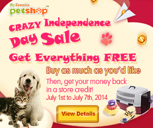 CRAZY Independence Day Sale! Get Everything FREE! Buy as much as you'd like & get your money back in a store credit! Valid from July 1st to July 7th, 2014.