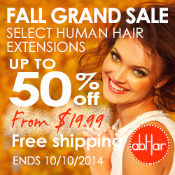 Fall grand sale! Up to 50% off on select human hair extensions. Enjoy free shipping. Start only $19.99. Ends 10/10/2014.