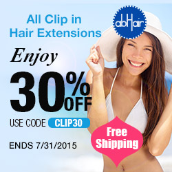 Grand summer sale! Enjoy 30% off on all clip in hair extensions, use code CLIP30. Free shipping site wide. Ends 7/31/2015.