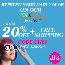 Colorful hair sale! Extra 20% off +free shipping! Use code CH20. Refresh your hair color on our colorful hair! Ends 4/30/2015.