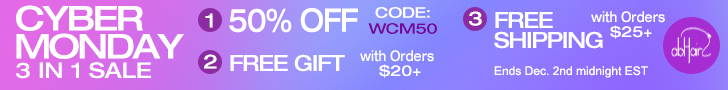 Cyber Monday 3 Sales in 1. Sale 1: 50% off site wide, use code: WCM50. Sale 2:   Free gift with $20 purchase. Sale 3: Free standard shipping with $25 purchase.     Offer ends Dec. 2nd midnight EST.