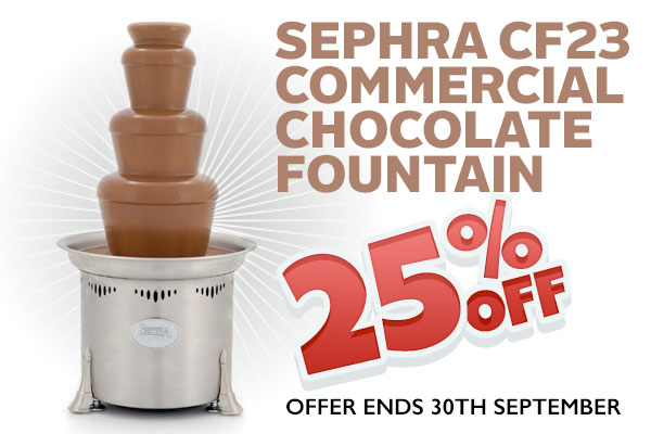 """Sephra's 23"""" three tiered Commercial Fountain is the most affordable and portable model. Ideal for small chocolate fountain rental events of 50-75 guests. Hurry up Off"""