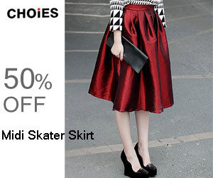 Choies Midi Skater Skirt, 50% off, free shipping