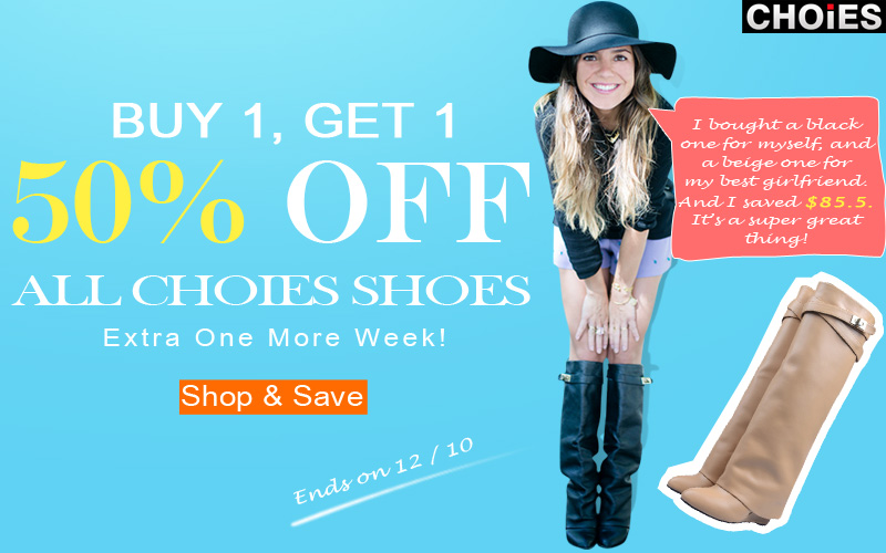 Buy 1, get 1 50% off, all Choies shoes, free shipping