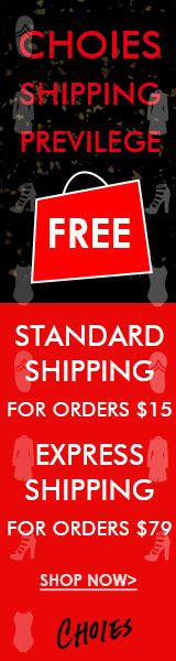 CHOIES Shipping Previlege For 2016:Free Standard Shipping For Orders $15+,Free Express Shipping For Orders $79+