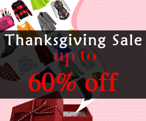 Thanksgiving Sale up to 60% off. 300+ items plus free shipping. Ends on 11/28, 2013.