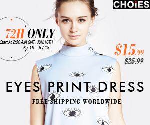 CHOIES Eyes Print Dress Sale
