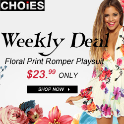 Weekly Deal at CHOIES: Floral Print Romper Playsuit $23.99 Only