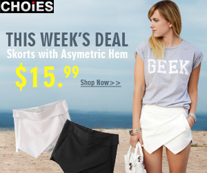 Weekly Deal: Skorts with Asymetric Hem $15.99 ONLY at CHOIES