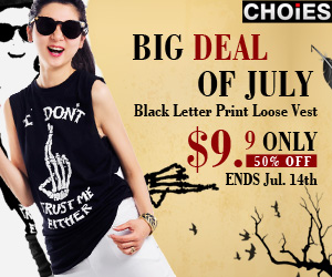 Black Print Loose T-shirt $9.9 at CHOIES