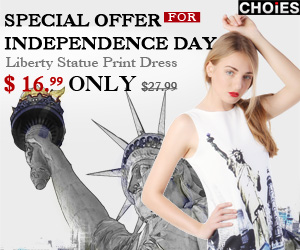 Choies Exclusive Independence Day Offer: Liberty Statue Print Dress Was $27.99, Now $16.99 ONLY. End