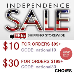 Choies Independence Sale, SAVE $10 for orders $99+, code: national10; SAVE $30 for orders $199+,code: national30