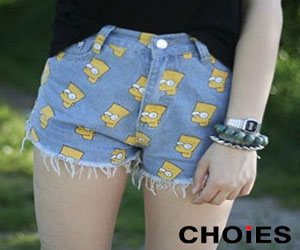 Simpson Print Denim Shorts - One of the best sellers of Choies
