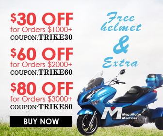 Free Gift & Extra $30 Off for Orders $1000+Coupon: TRIKE30; $60 Off for Orders $2000+Coupon: TRIKE60; $80 Off for Orders $3000+Coupon: TRIKE80 for Trikes.Buy now!