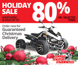 Save Up to 80% on Selected Motorcycles. Order Now for Guaranteed Christmas Delivery!