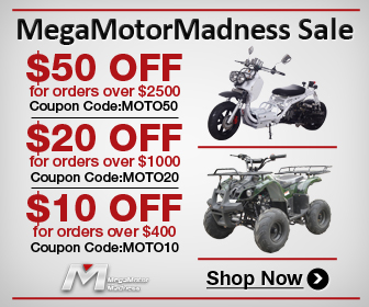 MegaMotorMadness Sale $50 off for order over $2500, Coupon Code: MOTO50; $20 off for order over $1000, Coupon Code: MOTO20; $10 off for order over $400, Coupon Code: MOTO10. Shop now