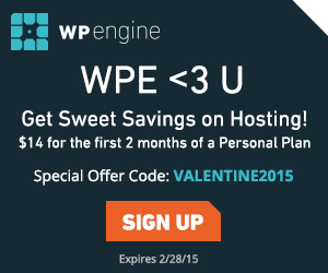 WP Engine has a sweetheart deal for you this Valentine's Day. $14 for the first 2 months of a Personal Plan!