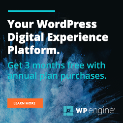 Get 3 months free with annual plan purchases WP engine