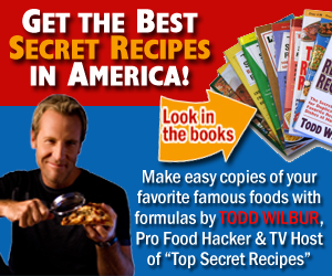 As Seen At TV Presents: America's Best Copycat Recipes - Sale Price: SAVE $14.00 NOW! - America's best copycat recipes! Save money and amaze your friends with culinary carbon copies from the original Food Hacker and TV host, Todd Wilbur! Clone your favorite dishes from Olive Garden, Red Lobster, Chili's, Outback Steakhouse, McDonald's, KFC, P.F. Changs, Red Robin, Houston's, Applebee's, Cracker Barrel, Starbucks, Wendy's...and so many more!. Available here on http://www.ItemsAsSeenOnTV.com!