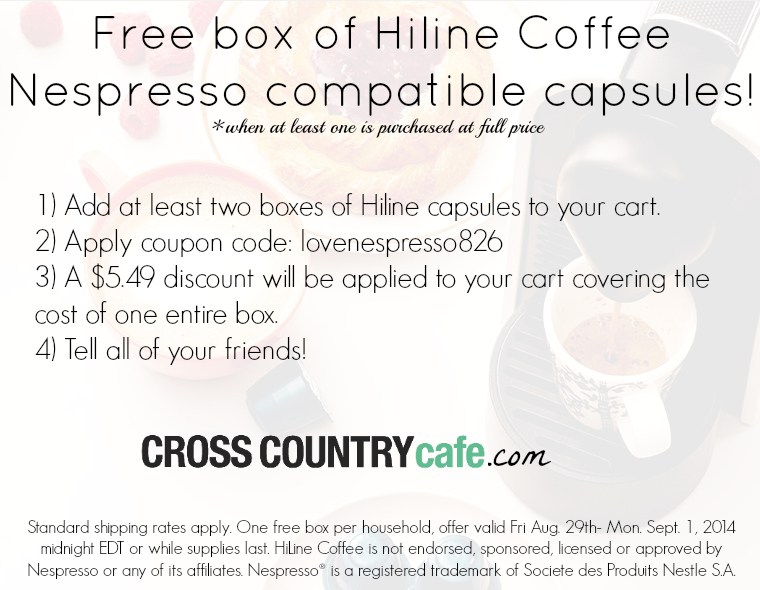 Free box of Hiline coffee Nespresso compatible capsules