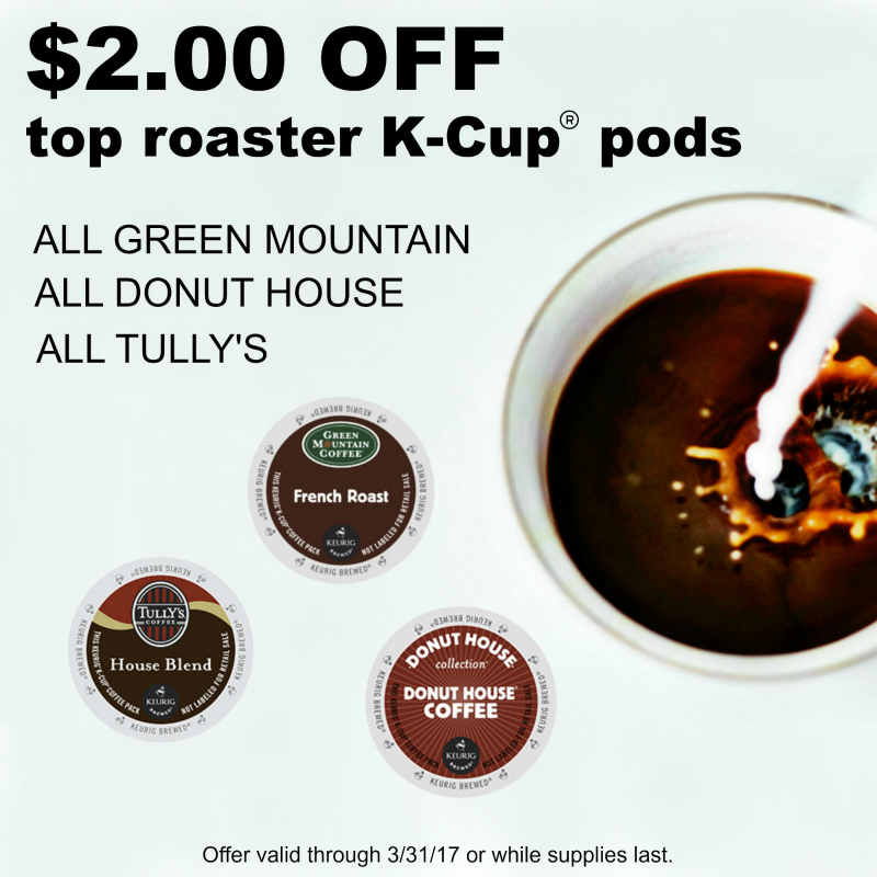 $2.00 off top roaster Keurig® K-Cup® coffee pods!