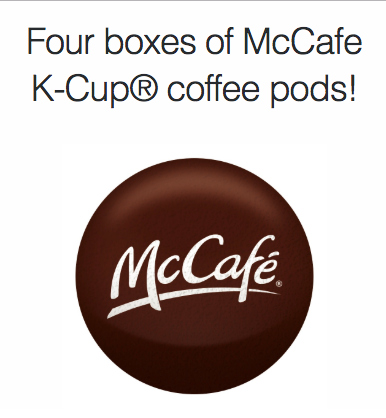 Win 4 boxes of McCafe K-Cup®  pods!