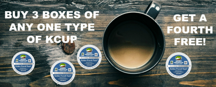 Buy 3 boxes of K-Cup® pods, get 1 free