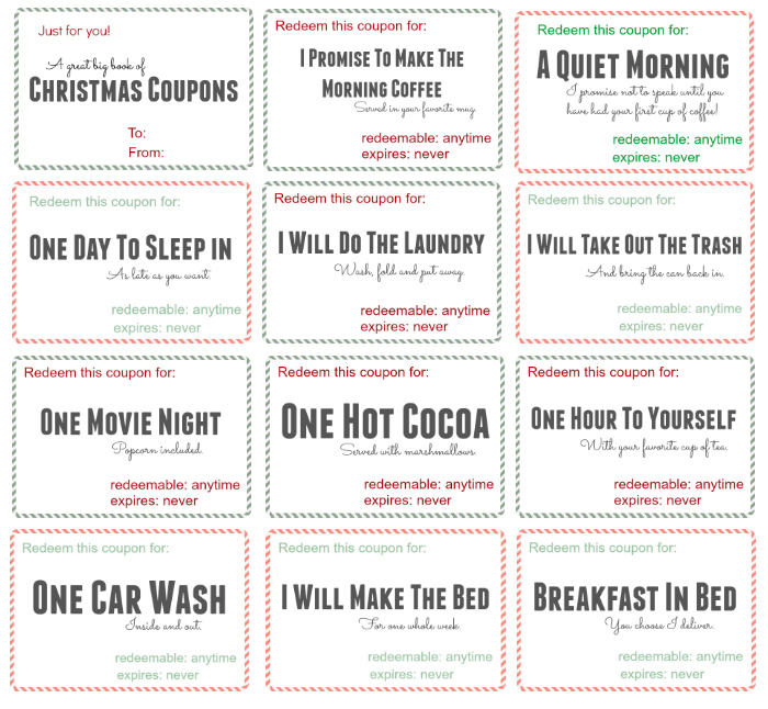 Free printable christmas coupon book bonus code included for Coupon book template for husband