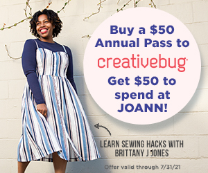 Buy a $50 annual pass to Creativebug and get $50 to spend at Joann's