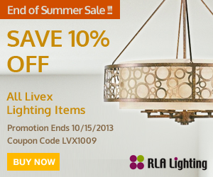 End of Summer Sale! Save 10% Off All Livex Lighting. Only at Rlalighting.com . Use coupon code LVX1009
