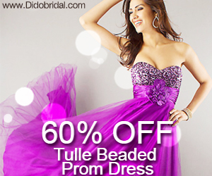 60% OFF Tulle Beaded Prom Dress