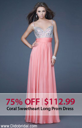75% OFF Coral Sweetheart Long Prom Dress at DidoBridal.com