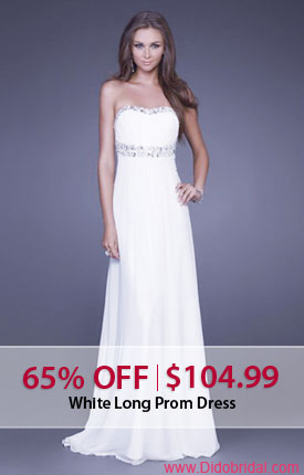 65% OFF White Long Prom Dress at DidoBridal.com