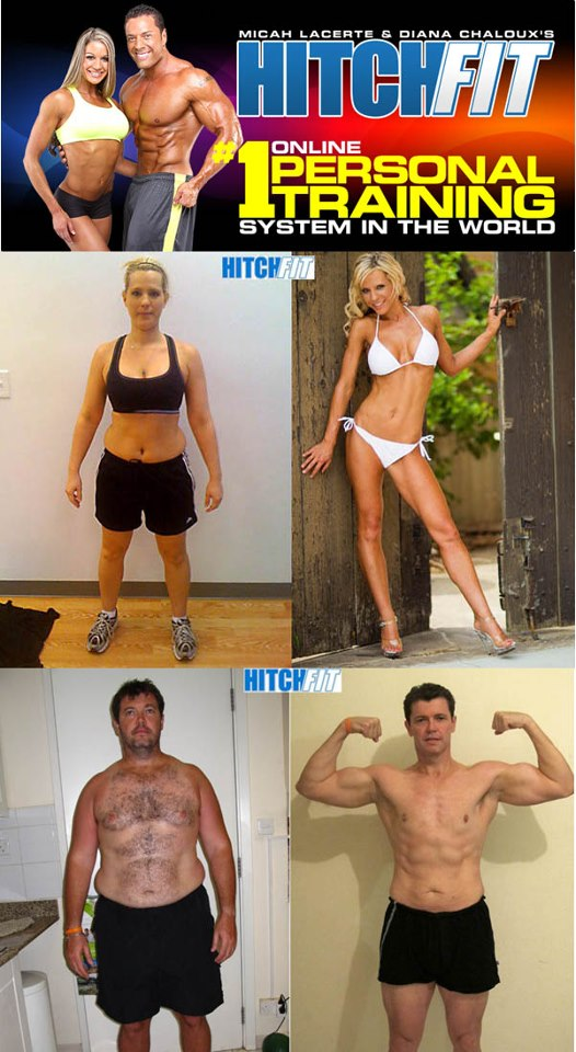 Hitch Fit male and female before and after pictures.