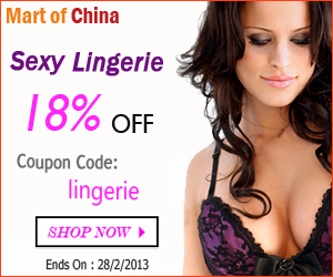"""Big discount, 18% OFF on Sexy lingerie on Martofchina, use coupon """"lingerie"""" when check out, this promotion will end on 28th, Feb"""