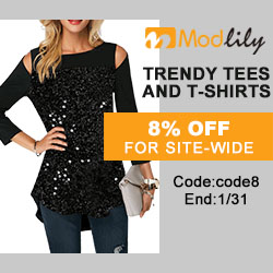 Trendy Tees and T-shirts,8% off for site-wide,End:1/31,Code:code8