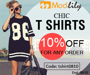 T Shirts Sale: Modlily provide you 300+ styles of t shirts price from $9.65 and extra 10% off coupon with code: tshirt 0810 end on September 10th.