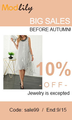 10% off, Jewelry is excepted  Code: sale99 End:9/15
