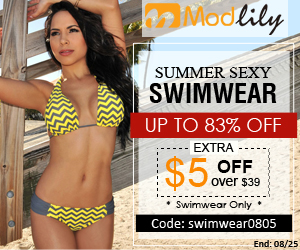 Summer promotion: sexy swimwear up to 80% off + extra $5 over $39 with coupon code: swimwear0805 and free shipping worldwide end on August 25th.