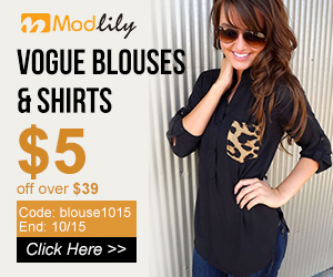 Vogue Blouses & Shirts 5 off over $39 Code: blouse1015  End: 10/15
