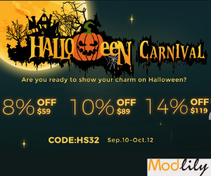 Modlily Halloween Carnival Starts: 8% off $59; 10% off $89; 14% off $119!